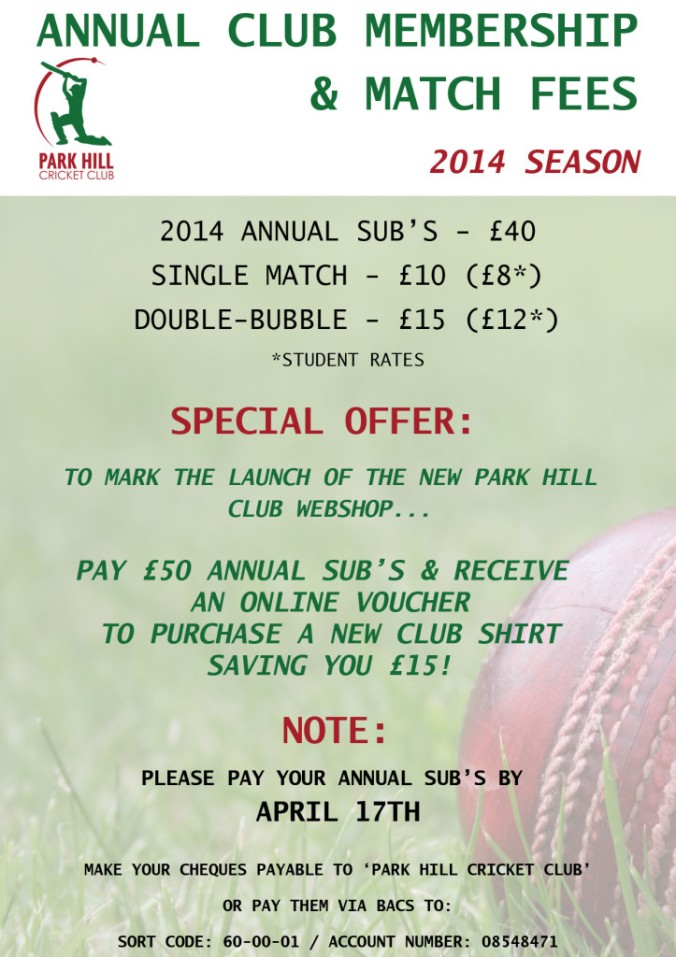 Park Hill Subs and Fees -2014